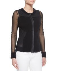 Elie Tahari Maura Rib-Trim Sheer Sweater - Lyst