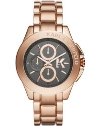 Karl Lagerfeld Karl Energy Rose Goldtone Chronograph Watch - Lyst