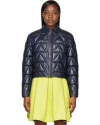 Kenzo Navy Quilted Leather Jacket - Lyst