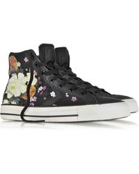 Converse Star Player Ev High Top Black/Hanami Canvas And Leather Sneaker - Lyst