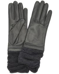 Portolano | Charcoal Perforated Leather Rib Knit Wool Blend Cuff Gloves | Lyst