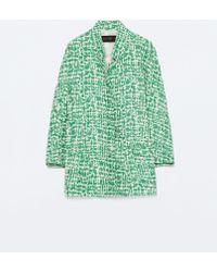 Zara Long Jacquard Jacket With Patch Pockets green - Lyst