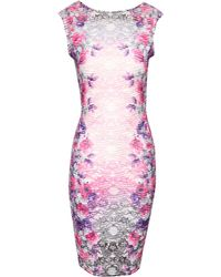 Jane Norman Floral Ripple Bodycon Dress - Lyst