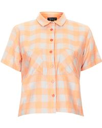 Topshop Orange Check Shirt - Lyst