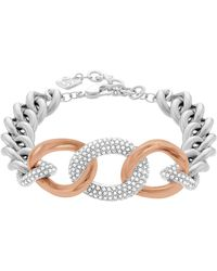 Swarovski - Bound Rose Gold Tone And Silver Tone Curb Chain Bracelet - Lyst