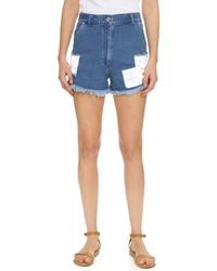 House of Holland - Patch Denim Shorts - Lyst