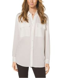 Michael Kors Pocket-Front Silk Blouse - Lyst
