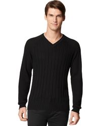 Calvin Klein V-neck Cable Pullover Sweater - Lyst