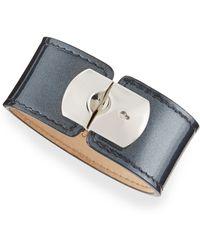 Balenciaga Pearl Gray Leather Padlock Bracelet - Lyst