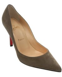 Christian Louboutin Cendre Suede Apostrophy 85 Stiletto Pumps - Lyst