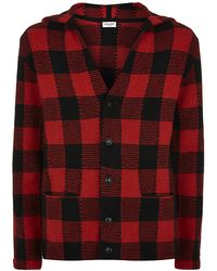 Saint Laurent Checked Wool Alpaca Hooded Cardigan - Lyst