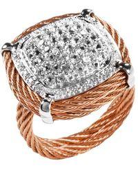 Charriol Women'S Classique 18K White Gold White Sapphire Diamond .10Tcw Ring pink - Lyst