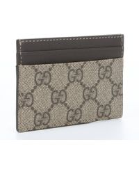 Gucci Beige Gg Crystal Canvas and Leather Card Case - Lyst