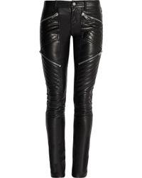 Saint Laurent Leather Skinny Pants - Lyst