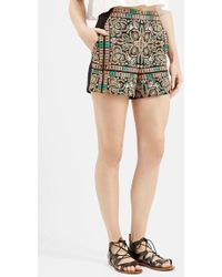 Topshop High-Rise Embroidered Shorts black - Lyst