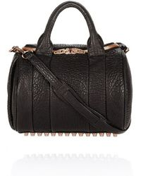 Alexander Wang Black Pebbled Rockie With Rose Gold Studs - Lyst