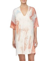 Donna Karan New York Faded Print Tissue Crepe Short Caftan - Lyst