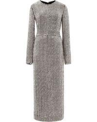 Wes Gordon Metal Embroidered Quadrant Dress - Lyst