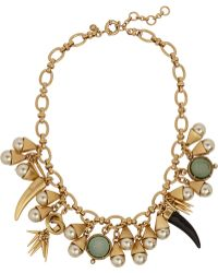 J.Crew Goldtone Faux Pearl and Crystal Necklace - Lyst