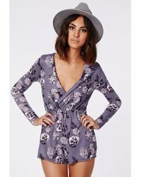 Missguided Jacky Floral Plunge Wrap Playsuit  - Lyst
