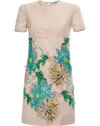 Blumarine Beige Dahlia Embroidery Dress - Lyst