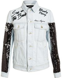 Filles A Papa - Embroidered and Sequin Denim Jacket - Lyst