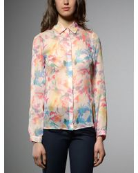 Patrizia Pepe Georgette Silk Shirt in Fantasy - Lyst