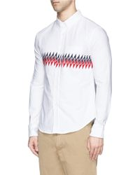 Band of Outsiders Zigzag Stripe Cotton Oxford Shirt - Lyst