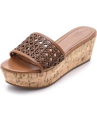 Tory Burch Perforated Fret Wedge Slides - Royal Tan - Lyst