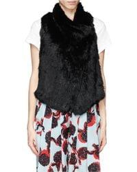 Elizabeth And James Anna Rabbit Fur Lamb Leather Stretch Gilet - Lyst