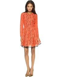 MSGM Long Sleeve Lace Dress - Lyst
