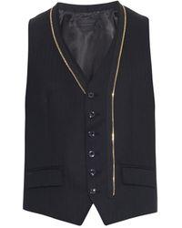 Alexander McQueen Black Herringbone-weave Waistcoat - Lyst