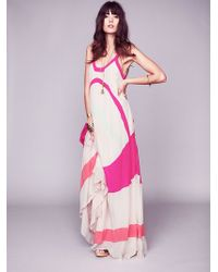 Free People Axel Colourblock Maxi Gown - Lyst