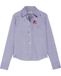 Title A - - Embroidered Cotton-chambray Shirt - Light Blue - Lyst