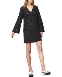 Lisa Perry 3/4 Sleeve Triangle Dress - Lyst