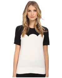 Kate Spade Fitted Scallop Short Sleeve Sweater - Lyst