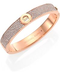 Michael Kors Heritage Fulton Signature PavÉ Bangle Bracelet/Rose Goldtone - Lyst