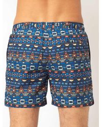 Asos Shorts with Tribal Print - Lyst