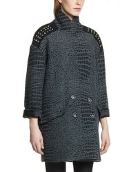 Patrizia Pepe Doublebreasted Coat in Jacquard Wool Fabric with Crocodile Print Design - Lyst
