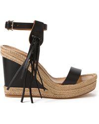 Valentino C-Rockee Espadrille Wedge Sandals black - Lyst