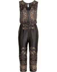 Anna Sui Embroidered Satin Jumpsuit - Lyst