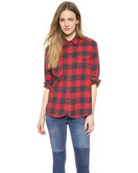 Madewell Heritage Cargo Buffalo Check Flannel Shirt - Barn Red - Lyst