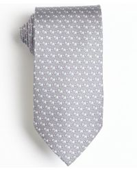 Ferragamo Grey and White and Pink Lion Printed Silk Tie - Lyst