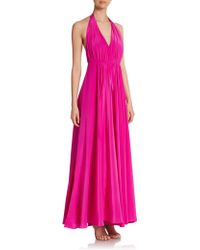 Milly Georgina Silk Crepe Halter Gown - Lyst