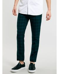 Topman Teal Check Cropped Trousers - Lyst