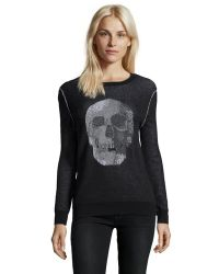 Haute Hippie Black 'Birds Eye' Jacquard Skull Sweater - Lyst