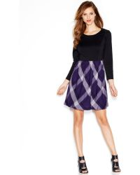 Kensie Long-sleeve Plaid-print Dress - Lyst
