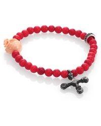 King Baby Studio 6Mm Coral Bead Bracelet red - Lyst