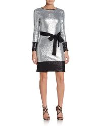 Mark + James by Badgley Mischka Sequined Colorblock Dress - Lyst