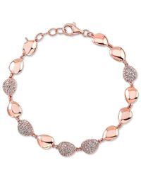 Anne Sisteron 14Kt Rose Gold Diamond Pebble Bracelet - Lyst